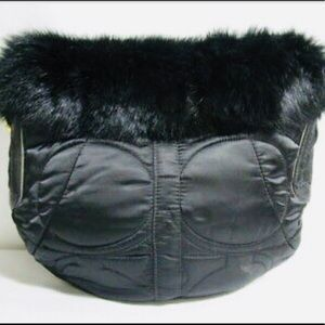 Coach Quilted Puffer Rabbit Fur Trim Bag